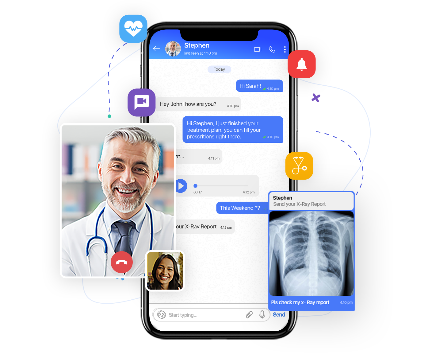 In app chat solution for healthcare applications